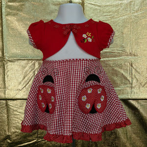 Youngland Baby Red White Dress Sz 12 M